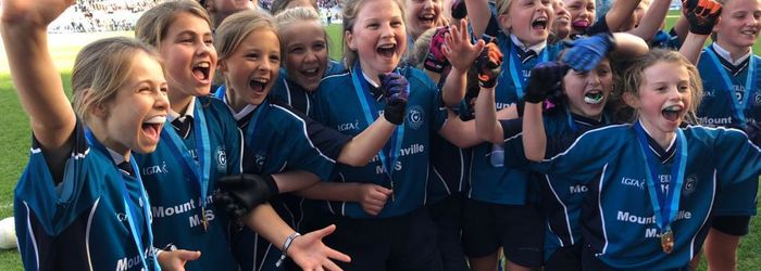 'MAMJS are so proud of our GAA Team which won the Cumann Na MBunscol, Corn Na Laoch Dublin League at an exciting final match played in Croke Park on Monday. Well done Girls!'